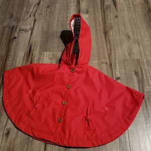 Tahari red toddler rain cape with removable hood